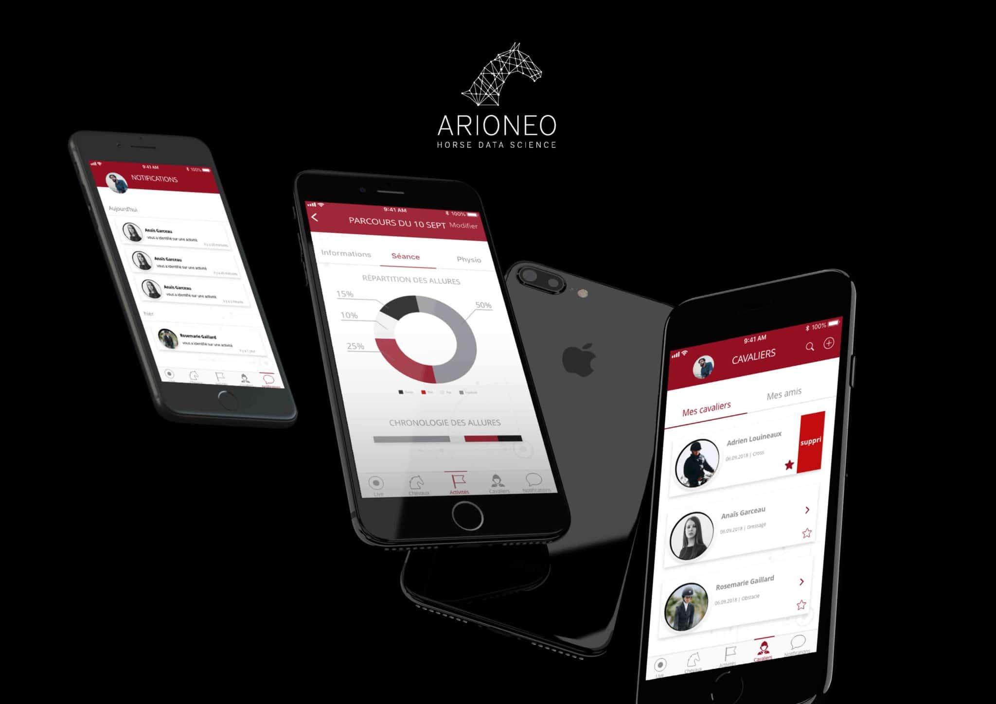 Mise en situation dans iphone, de 3 écrans de l'application i-sport app