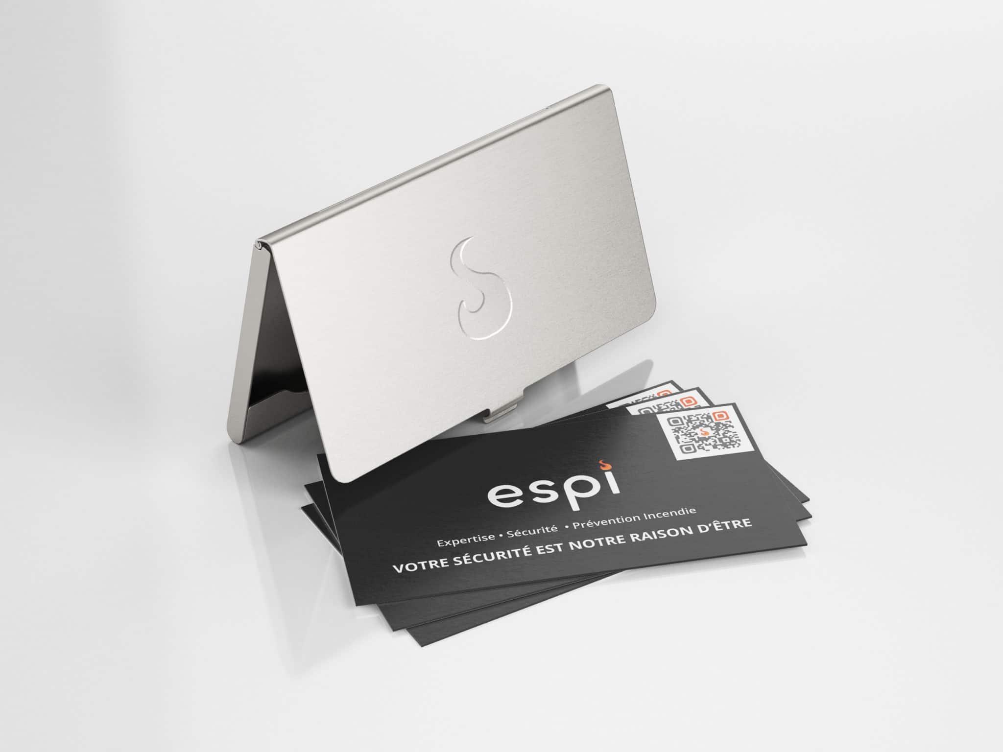 image de mise en situation des carte de visite avec un porte carte