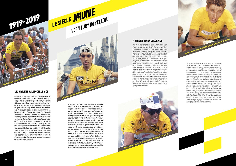 """Export de la double page """" siècle jaune"""" du dossier de presse du tour de france 2019"""