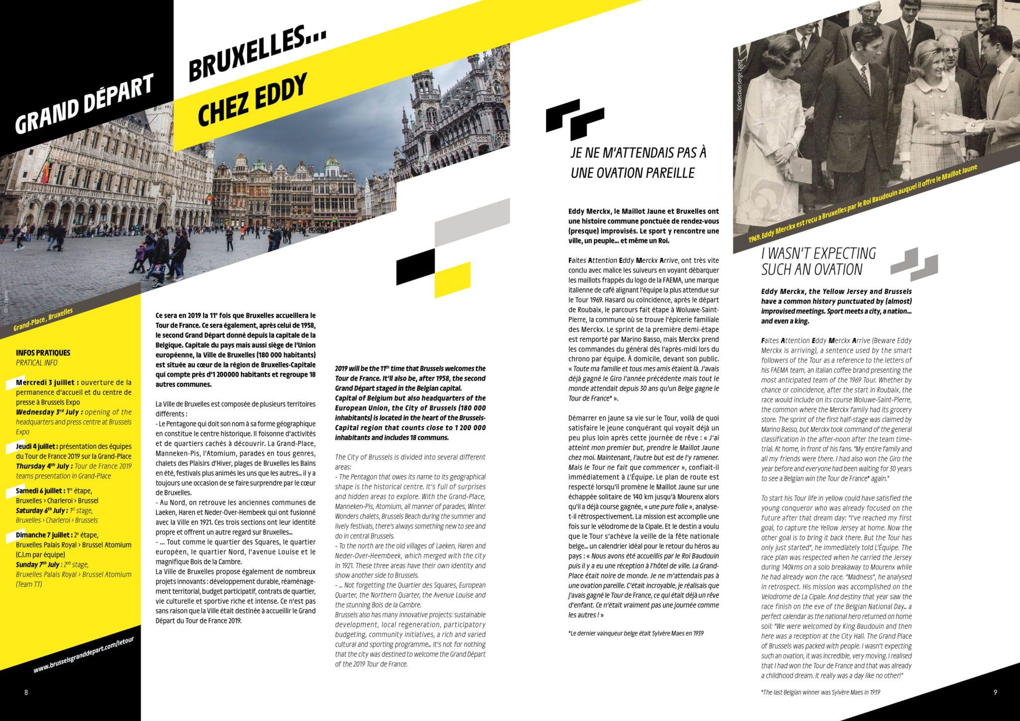 """Export de la double page """"Grand Départ"""" du dossier de presse du tour de france 2019"""
