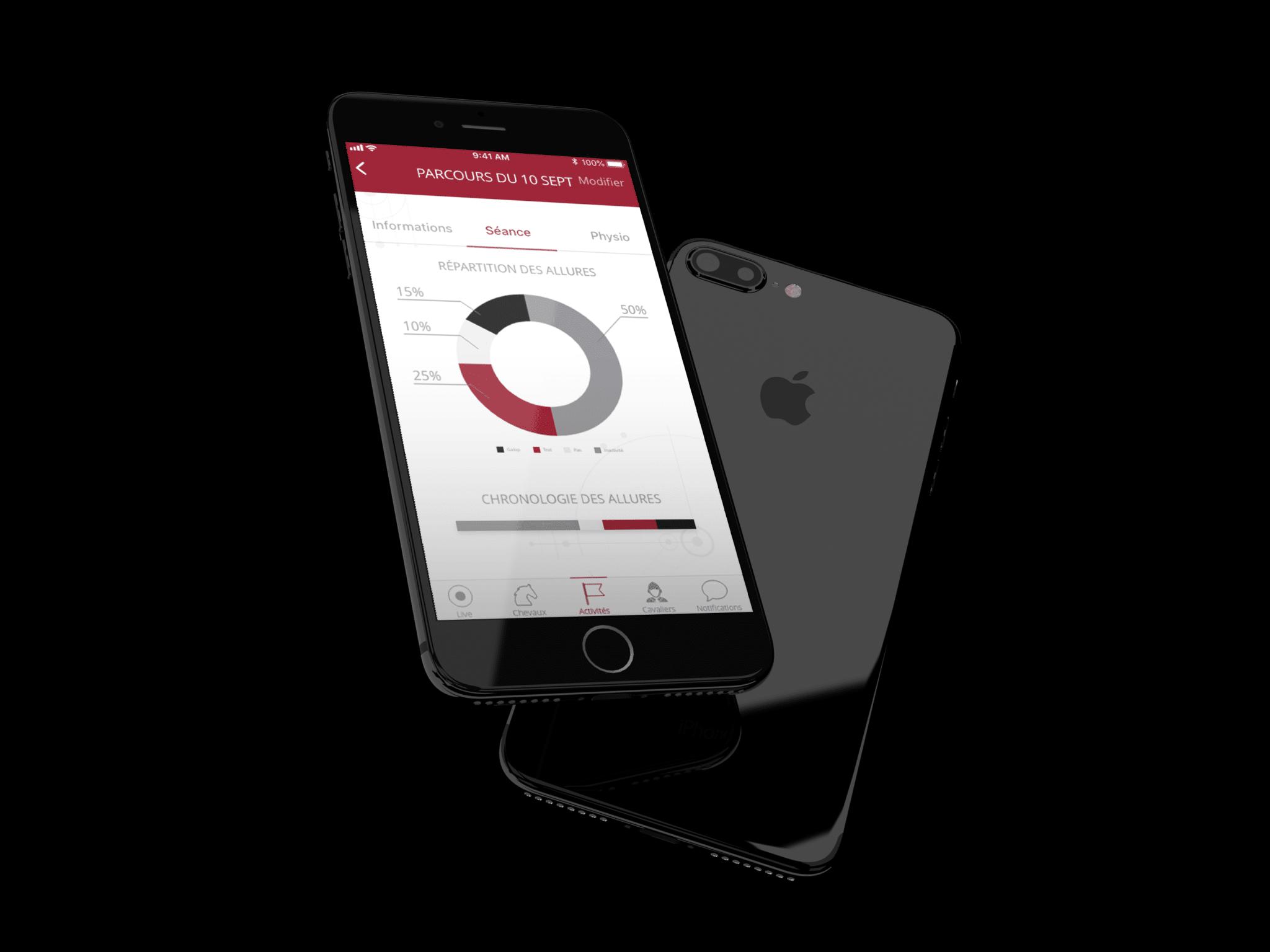 """Mise en situation dans iphone, de l'écran """"actualité de séance"""" dans l'application i-sport app"""