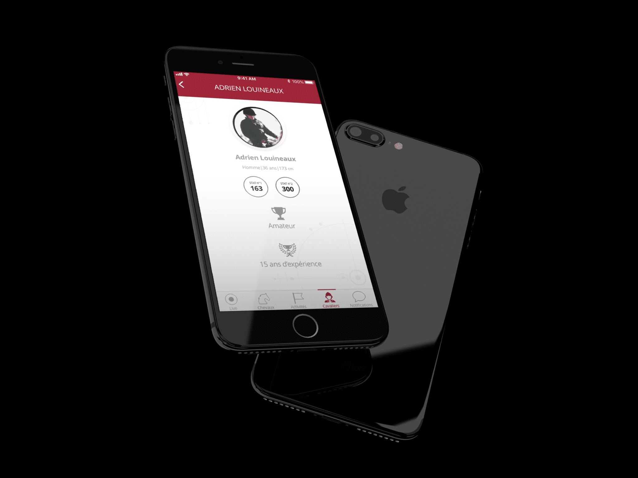 """Mise en situation dans iphone, de l'écran """"cavalier"""" dans l'application i-sport app"""