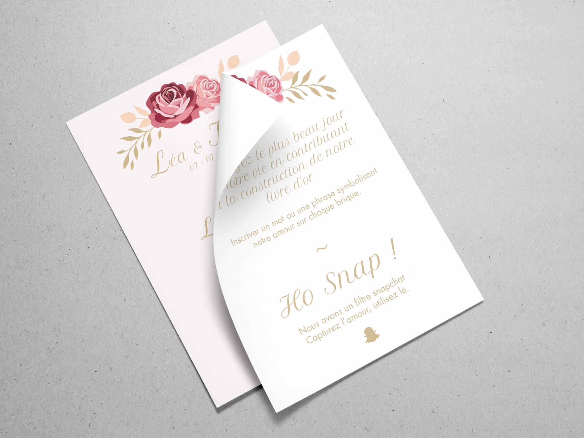Mise en situation des flyer pour le mariage de Kevin et léa