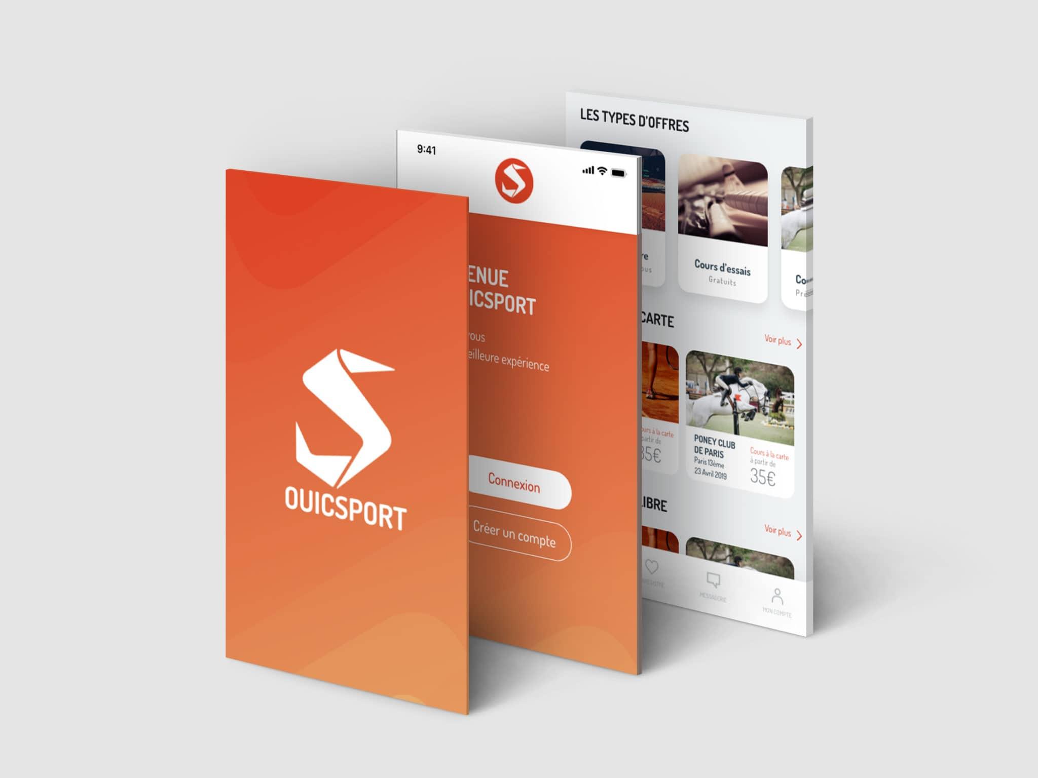 Mise en situation de 3 écrans de l'appli mobile OUICSPORT