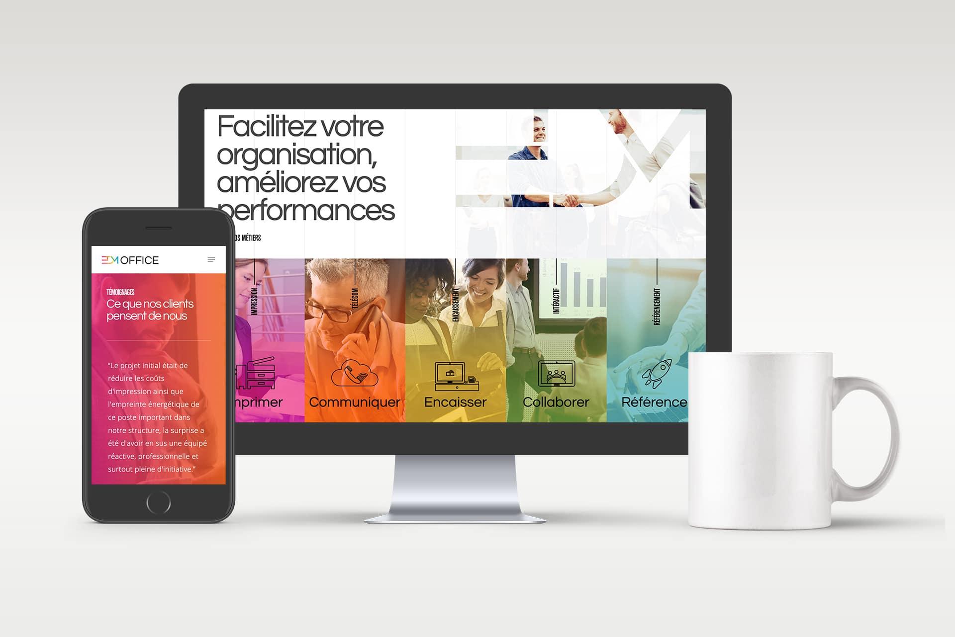 image de mise en situation du site web d'EDM dans un écran d'ordinateur et un téléphone
