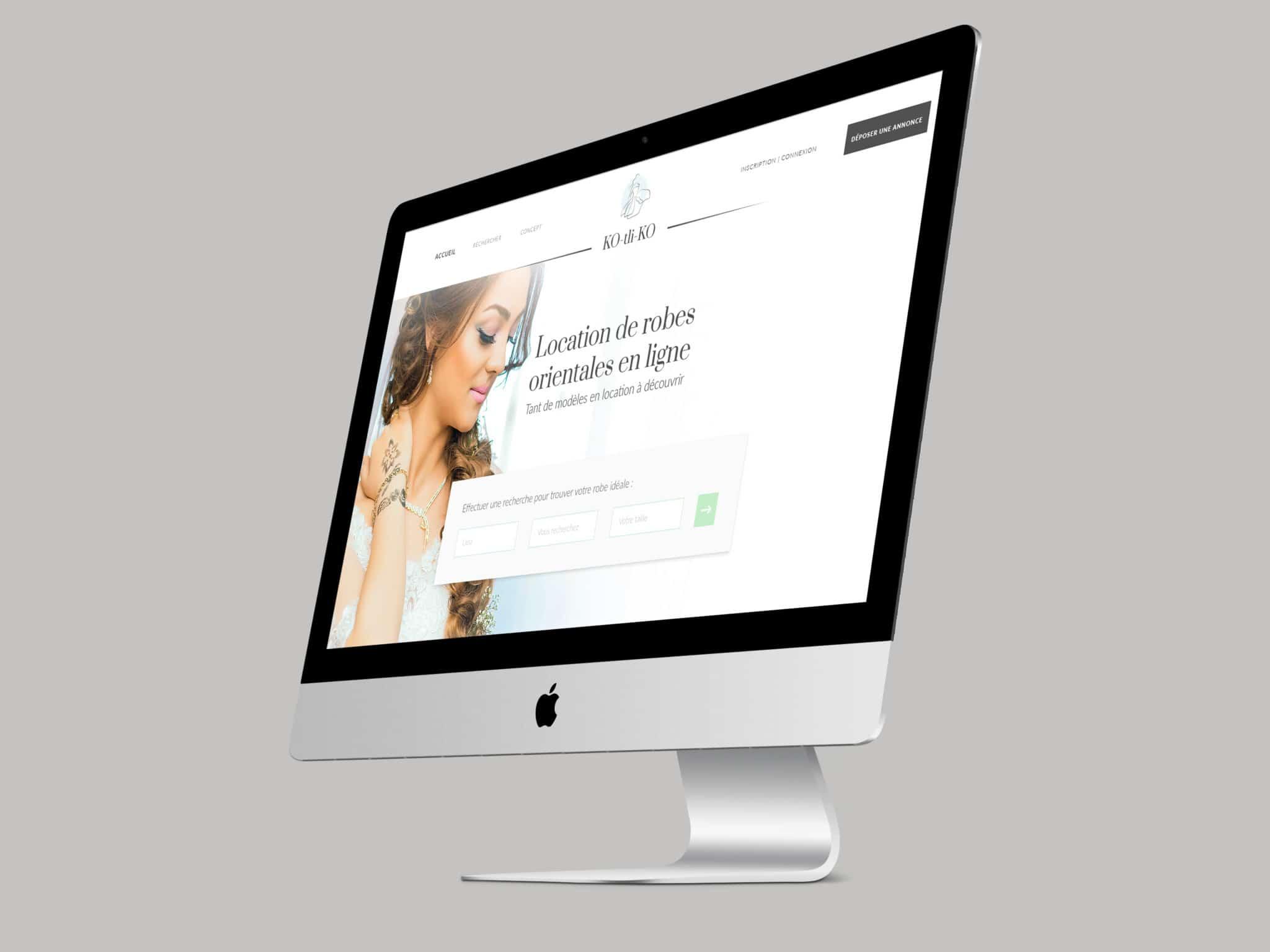 image de mise en situation de la homepage du site web de KO-tli-KO, dans un écran d'ordinateur
