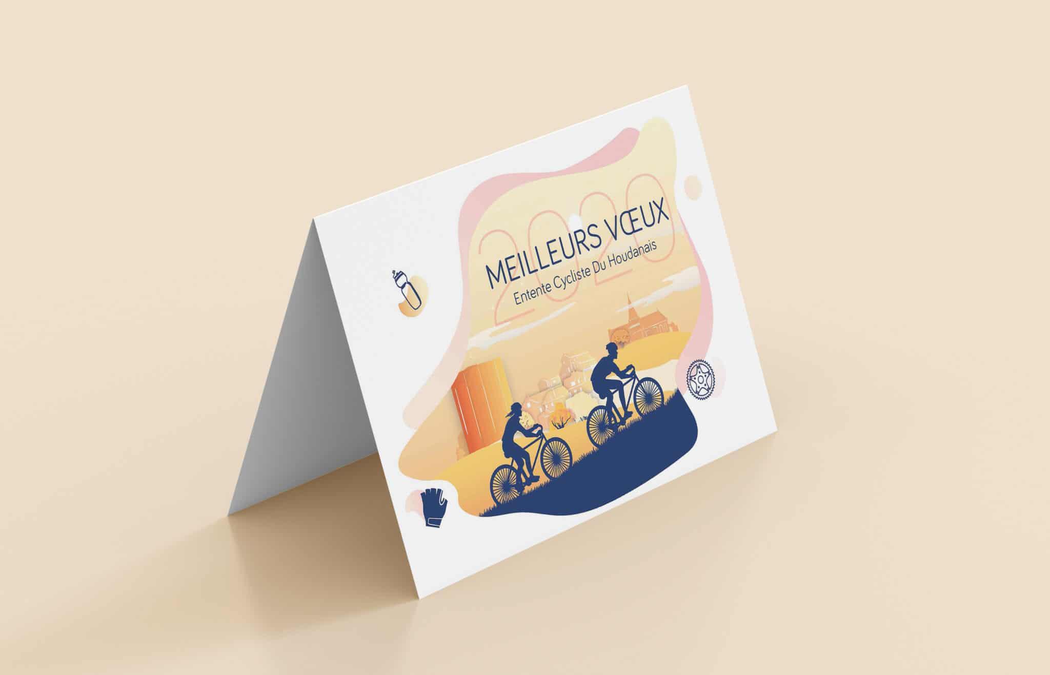 Mise en situation de la carte de voeux 2020, du club de vélo de Houdan