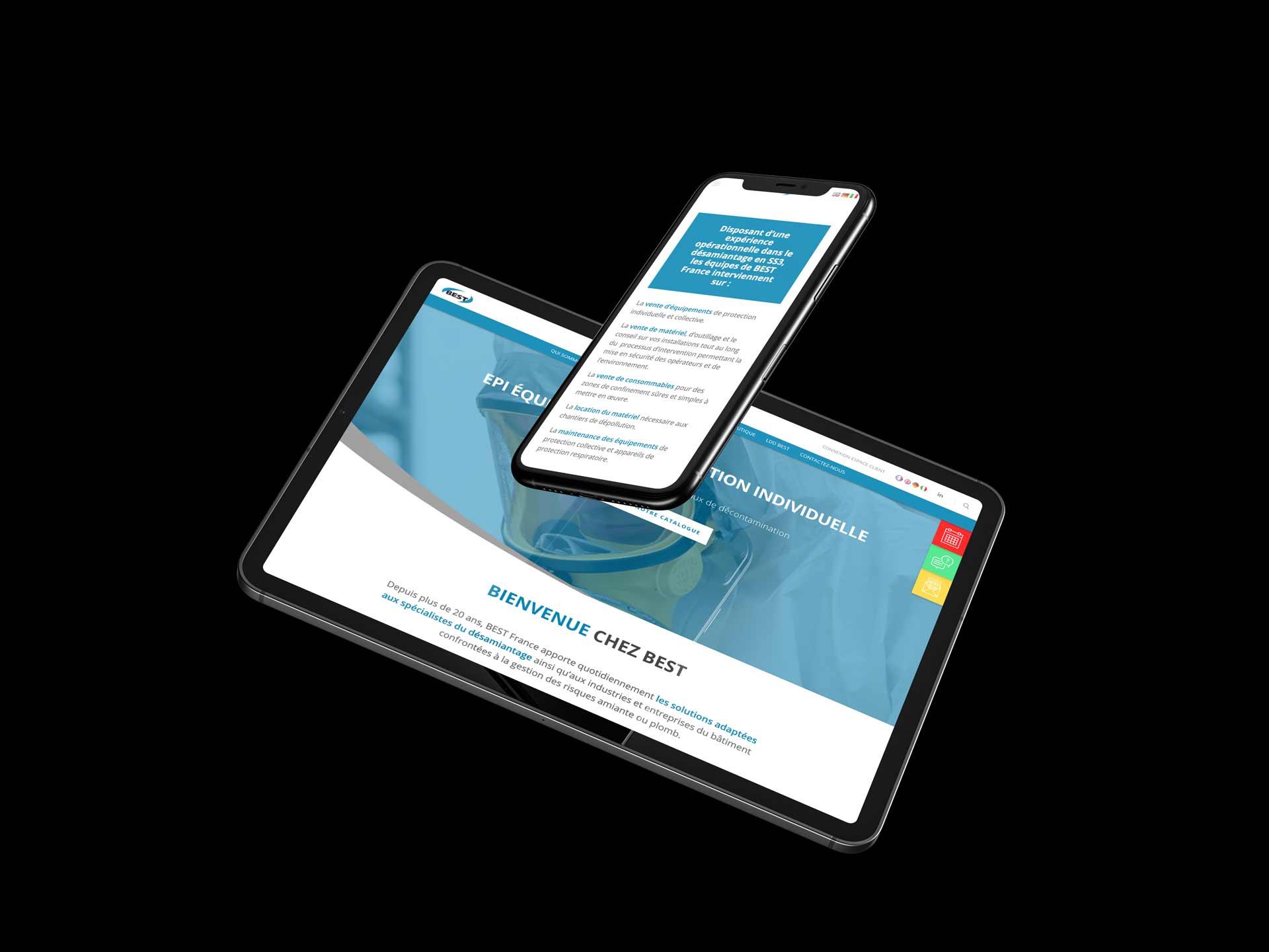 image de mise en situation du site web de BEST dans un écran de tablette et un téléphone