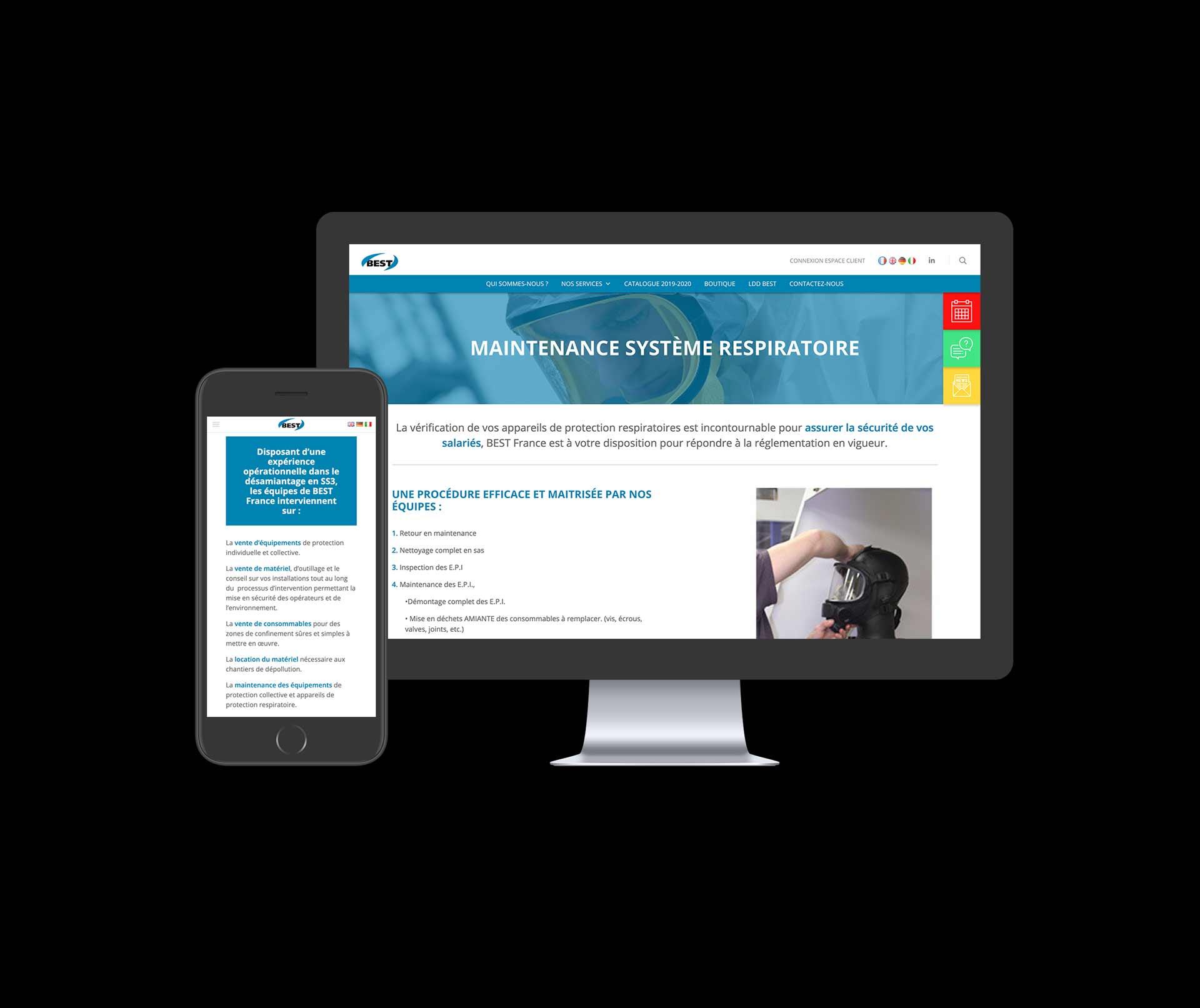 image de mise en situation du site web de BEST dans un écran d'ordinateur et un téléphone
