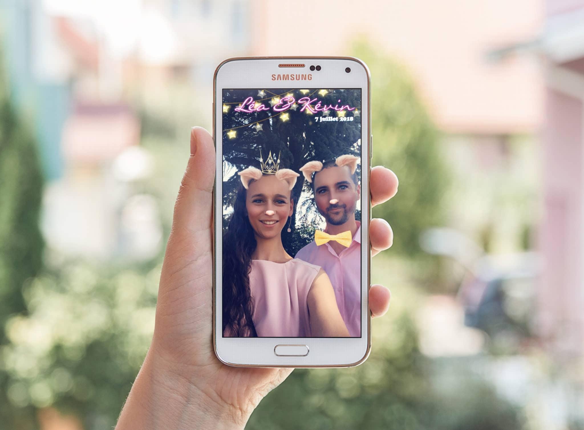Mise en situation du géofiltre SnapChat pour le mariage de Kevin et léa